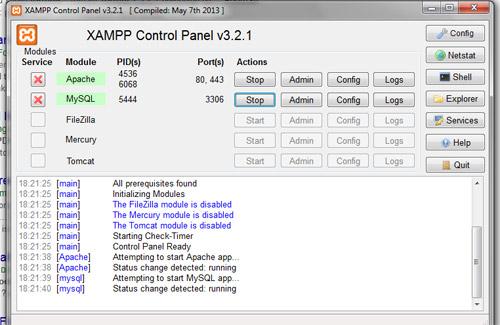 panel de control | servidor web