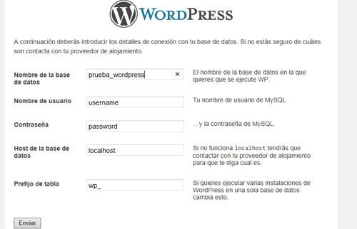 panel de control WordPress