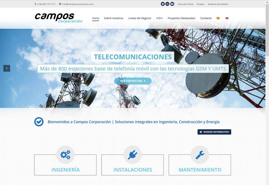 desarrollo de pagina web de Campos Corporación