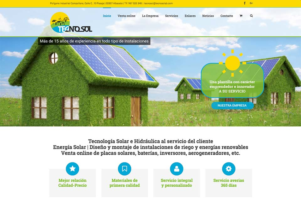diseño de pagina web y tienda online de Tecnosol