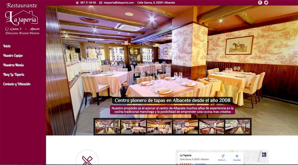 Diseño web para Restaurante La Taperia