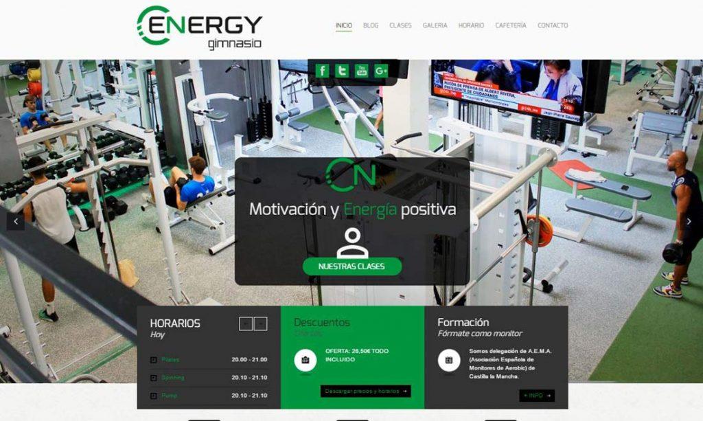 diseño de web de gimnasio energy