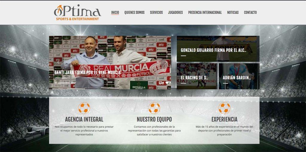 Diseño e imagen web de Optima Sports