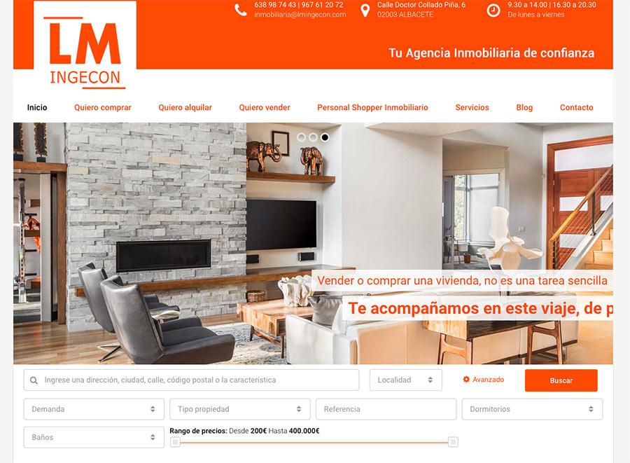 Página web de LM inmobiliaria