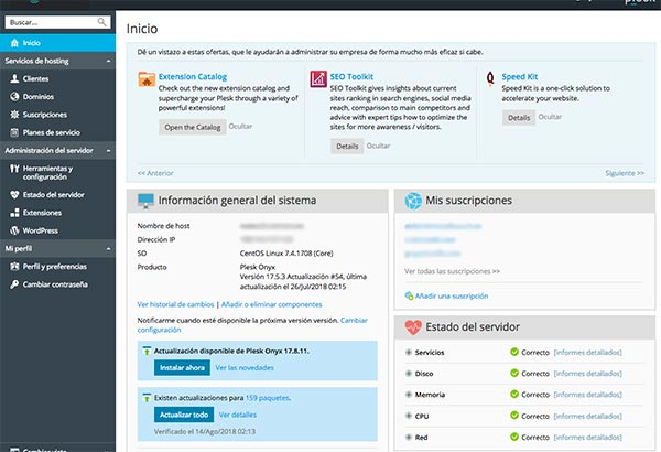 Plesk en Servidor de páginas web