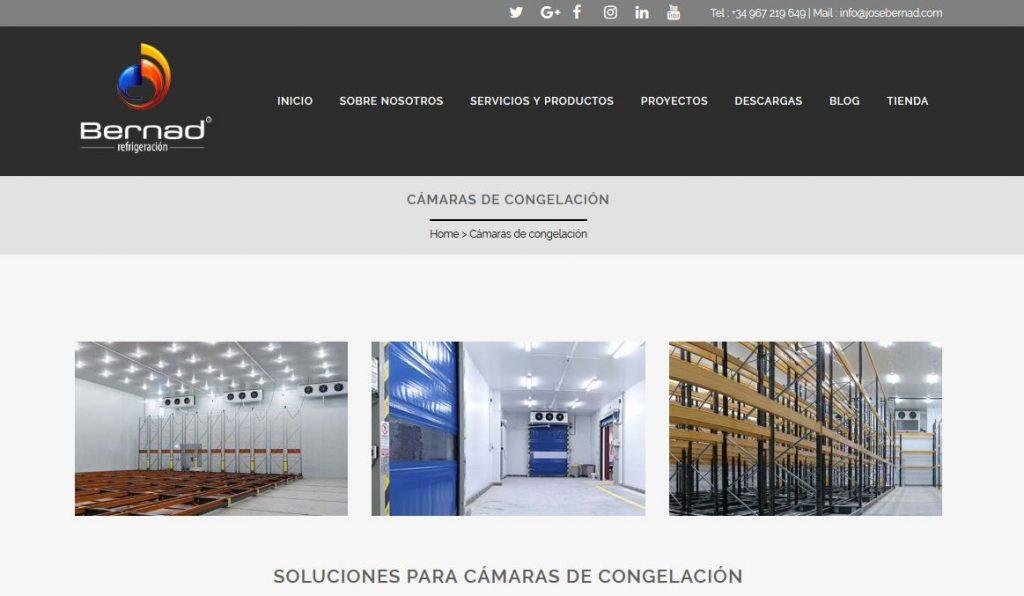 Pagina web de Bernad Refrigeración y trabajo SEO