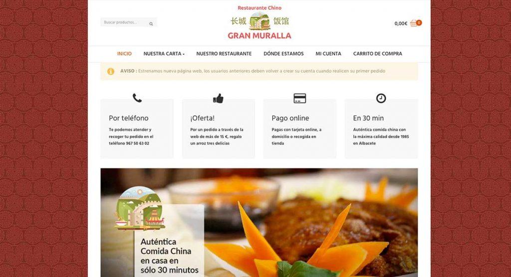 web con pedidos online restaurante chino