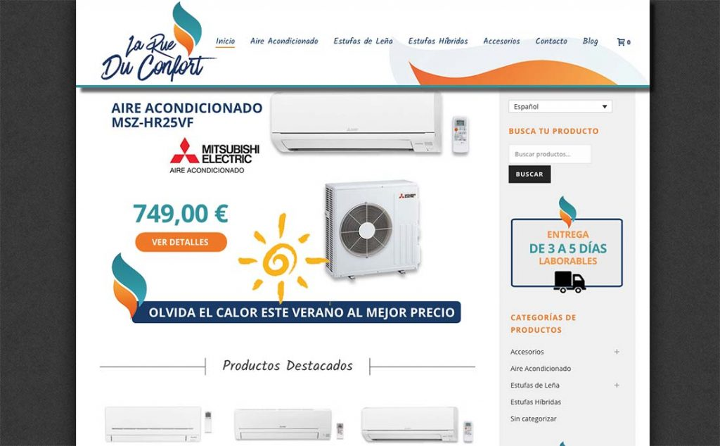 creación de tienda online para estufas de leña e hibridas